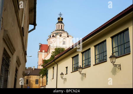 St. Catherine's Church in Vilnius (Lithuania) view from the street of old town - Stock Photo