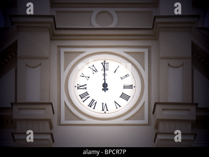 Midnight - old tower clock is at twelve - Stock Photo