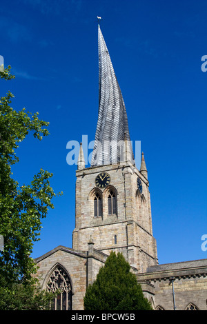 chesterfield Crooked Spire of the Church of St Mary and All Saints england uk gb - Stock Photo
