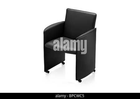 Image of a modern black leather armchair - Stock Photo