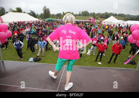pink ribbon walk warm-up bleinham palace - Stock Photo