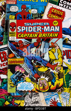 spider-man and super spiderman marvel group comic books from the 1970s in the uk - Stock Photo