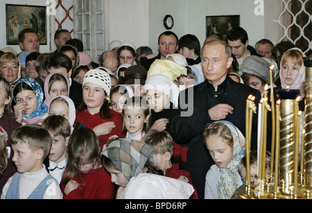 Russian President attended Orthodox Christmas service at New Jerusalem Monastery - Stock Photo