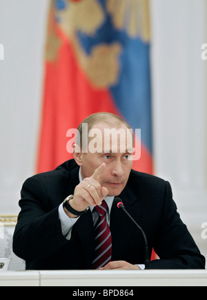 President Putin meets with Russian business leaders in Moscow's Kremlin - Stock Photo