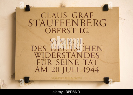 A plaque inscribed in memory of Claus Graf Stauffenberg in Bamberg, Germany. - Stock Photo