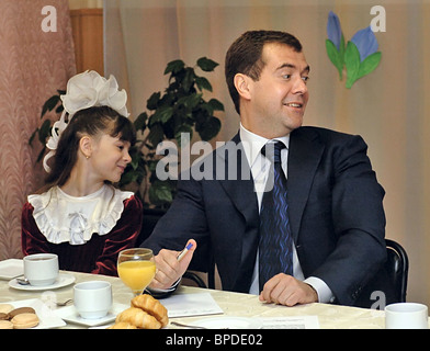 Russia's First Deputy PM Dmitry Medvedev visits City of Perm - Stock Photo