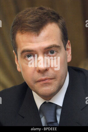 Russia's First Deputy PM Dmitry Medvedev meets with school graduates - Stock Photo
