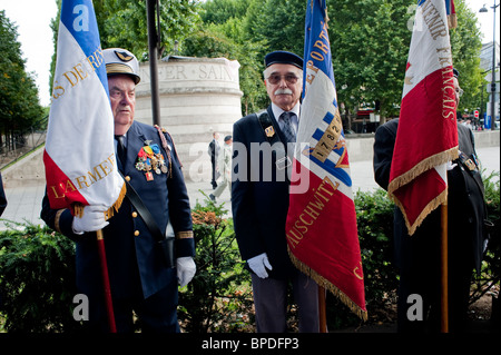 Paris, France, The City Celebrates the Anniversary of its Liberation from Na-zi Germany in WWII, Old War Veterans - Stock Photo