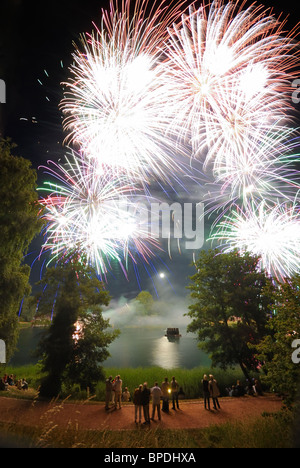 Fireworks and moon, Britzer Garten, BUGA Park horticultural show gardens, Britz, Neukoelln district, Berlin, Germany, - Stock Photo