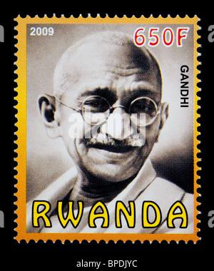 RWANDA - CIRCA 2009: A postage stamp printed in Rwanda showing Mohandas Karamchand Gandhi, circa 2009 - Stock Photo
