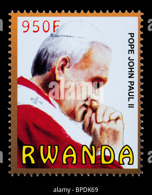 RWANDA - CIRCA 2009: A postage stamp printed in Rwanda showing Pope John Paul II, circa 2009 - Stock Photo
