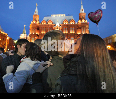 Moscow - kissing city event held in Russias capital - Stock Photo