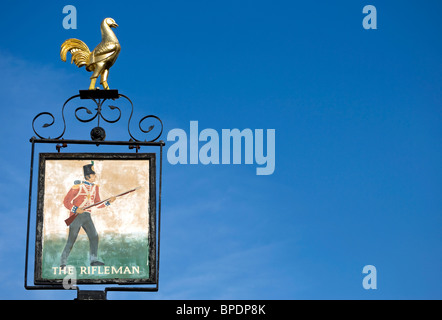 inn sign of the rifleman pub,  twickenham, middlesex, england - Stock Photo