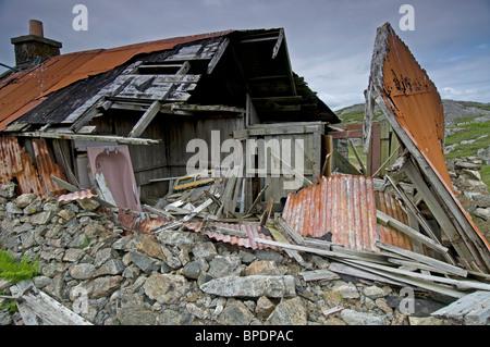 An Abandoned ruined crofting hamlet at Roisinis on Eriskay, Outer Hebrides, Western Isles. Scotland.  SCO 6395 - Stock Photo