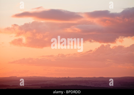 Sunset over the Kennet Valley in Berkshire UK - Stock Photo