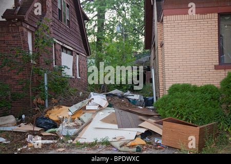 Illegally Dumped Trash in Detroit Neighborhood - Stock Photo