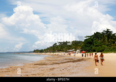 People at Parracho Beach, Arraial d'Ajuda, Bahia, Brazil. - Stock Photo
