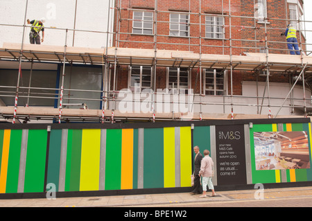 Building work in preperation of the new M&S cafe in Norwich , Norfolk , England , Great Britain , Uk - Stock Photo