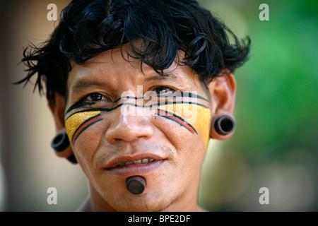 Portrait of a Pataxo Indian man at the Reserva Indigena da Jaqueira near Porto Seguro, Bahia, Brazil. - Stock Photo