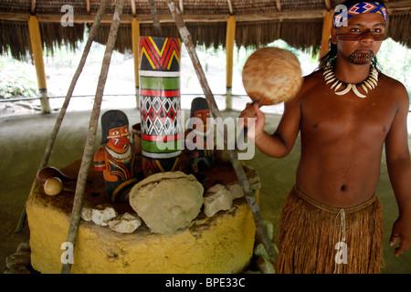 The ceremonial house of the Pataxo Indian people at the Reserva Indigena da Jaqueira near Porto Seguro, Bahia, Brazil. - Stock Photo