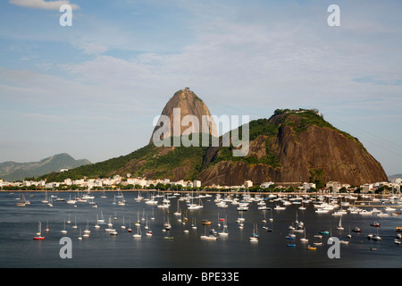 View of the Pao Acucar or Sugar loaf mountain and the bay of Botafogo, Rio de Janeiro, Brazil. - Stock Photo