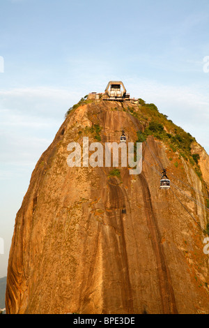 Cable cars at the Pao Asucar or Sugar loaf mountain, Rio de Janeiro, Brazil. - Stock Photo
