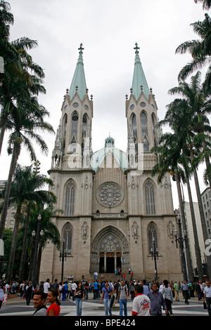 Catedral da Se, Sao Paulo, Brazil. - Stock Photo