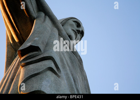 The statue of Christ the Redeemer on top of the Corcovado mountain. Rio de Janeiro, Brazil. - Stock Photo