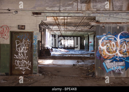 Abandoned Packard automobile plant in Detroit, Michigan, USA - Stock Photo