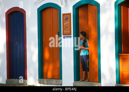 Typical colonial houses in the historic part of Parati, Rio de Janeiro State, Brazil. - Stock Photo