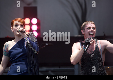 Jake Shears and Ana Matronic, Scissor Sisters, Pyramid Stage, Glastonbury, 2010, - Stock Photo
