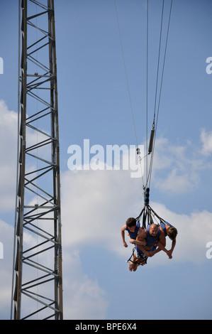 Sky coaster swing at Hurricane Harbor waterpark , Six Flags Over Texas amusement park, Arlington, TX, USA - Stock Photo