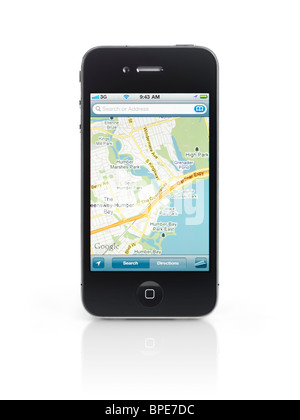 Apple iPhone 4 smartphone with google maps gps app on its display isolated with clipping path on white background - Stock Photo