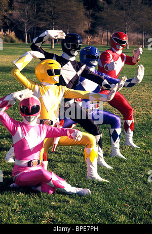 PINK RANGER, YELLOW RANGER, BLACK RANGER, BLUE RANGER, RED RANGER, MIGHTY MORPHIN POWER RANGERS, 1993 - Stock Photo