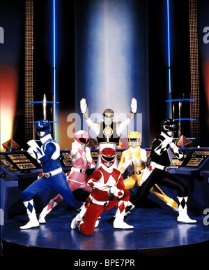 BLUE RANGER, PINK RANGER, WHITE RANGER, RED RANGER, YELLOW RANGER, BLACK RANGER, MIGHTY MORPHIN POWER RANGERS, 1993 - Stock Photo