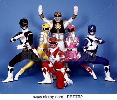 BLACK RANGER, YELLOW RANGER, RED RANGER, WHITE RANGER, PINK RANGER, BLUE RANGER, MIGHTY MORPHIN POWER RANGERS, 1993 - Stock Photo