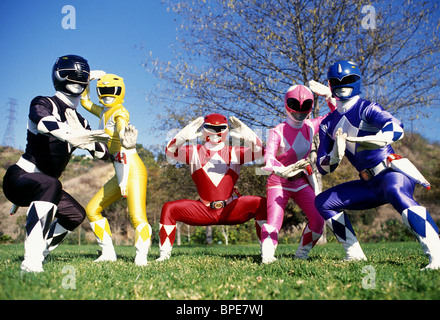 BLACK RANGER, YELLOW RANGER, RED RANGER, PINK RANGER, BLUE RANGER, MIGHTY MORPHIN POWER RANGERS, 1993 - Stock Photo