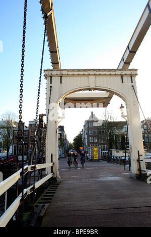Magere Brug (Bridge) in Amsterdam - Stock Photo