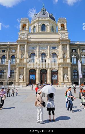 Vienna, Austria. Maria Theresien Platz. Naturhistorisches Museum / Natural History Museum. Japanese Tourists - Stock Photo