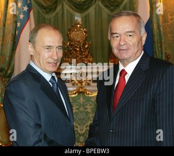 Russian President Vladimir Putin meets Uzbekistan's President Islam Karimov in Kremlin - Stock Photo