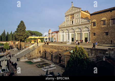 Italy, Tuscany, Florence, San Miniatio al Monte church, terrace, staircase, graveyard, people, late afternoon - Stock Photo