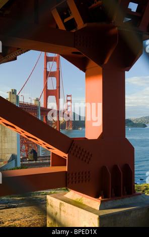USA, California, San Francisco, Golden Gate Bridge looking north through gap in chain-link fence - Stock Photo