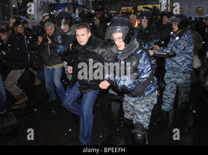 Unauthorised Dissenters March dispersed in Moscow - Stock Photo