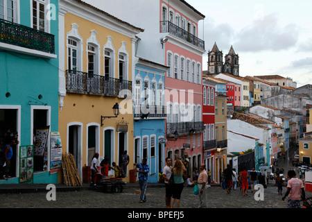 Cobbled streets and colonial architecture Largo de Pelourinho, Salvador, Bahia, Brazil. - Stock Photo