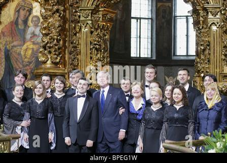 U.S. President Bush arrives in Kiev - Stock Photo