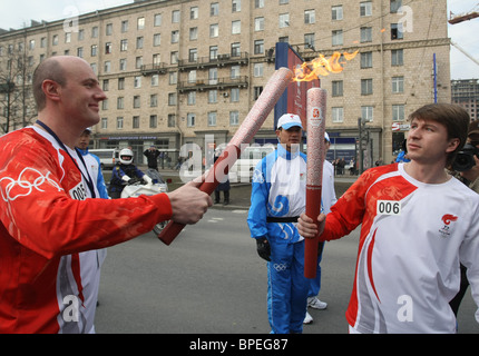 Beijing Olympic flame arrives in St. Petersburg - Stock Photo