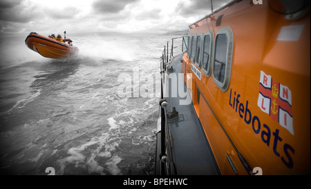 RNLI Aberdovey and Barmouth Lifeboats on Exercise, Gwynedd North Wales UK - Stock Photo