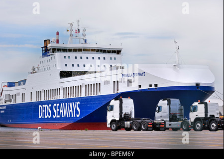 Trucks from the Volvo Trucks assembly plant waiting to loaded on the roll-on/roll-off / roro ship at the Ghent seaport, - Stock Photo