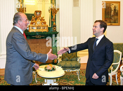 President of Russia Dmitry Medvedev meets Spanish King Juan Carlos in Moscow - Stock Photo