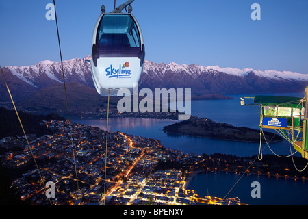 Skyline Gondola and Bungy at Dusk, Queenstown, South Island, New Zealand - Stock Photo